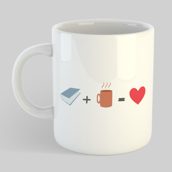 Könyv + Kávé = <3 – Bögre